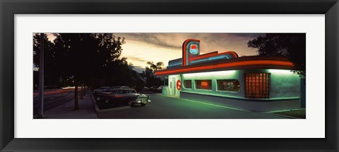 Framed Restaurant lit up at dusk, Route 66, Albuquerque, Bernalillo County, New Mexico, USA Print