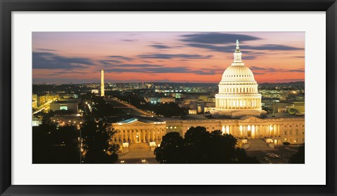 Framed High angle view of a city lit up at dusk, Washington DC, USA Print
