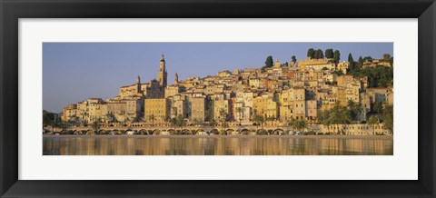 Framed Buildings On The Waterfront, Eglise St-Michel, Menton, France Print