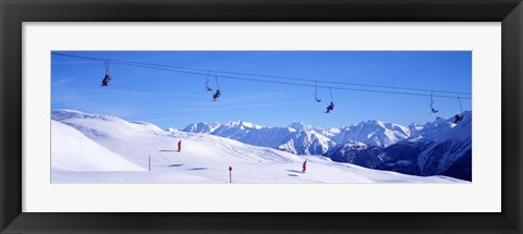 Framed Ski Lift in Mountains Switzerland Print
