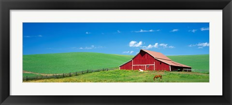 Framed Red Barn With Horses WA Print