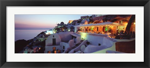 Framed Terrace overlooking the Caldera, Santorini, Greece Print