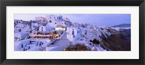 Framed White washed buildings, Santorini, Greece Print
