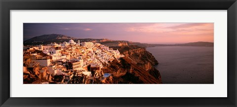Framed Aerial view of town, Santorini, Greece Print