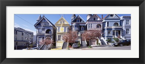 Framed Cars Parked In Front Of Victorian Houses, San Francisco, California, USA Print