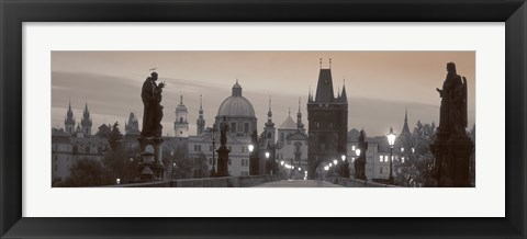 Framed Lit Up Bridge At Dusk, Charles Bridge, Prague, Czech Republic (black and white) Print