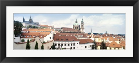 Framed Church in a city, St. Nicholas Church, Mala Strana, Prague, Czech Republic Print