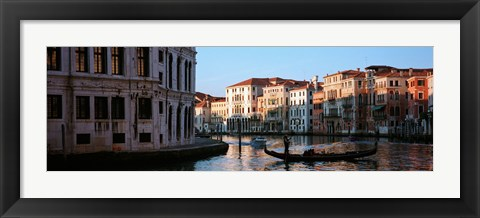Framed Gondola in a canal, Grand Canal, Venice, Italy Print