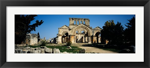 Framed Old ruins of a church, St. Simeon The Stylite Abbey, Aleppo, Syria Print