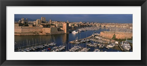 Framed High angle view of boats docked at a port, Old Port, Marseille, Bouches-Du-Rhone, Provence-Alpes-Cote Daze, France Print