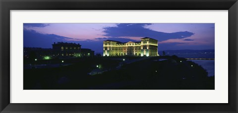 Framed Buildings lit up at night, Palais Due Pharo, Marseille, Bouches-Du-Rhone, Provence-Alpes-Cote Daze, France Print