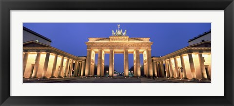 Framed Low angle view of a gate lit up at dusk, Brandenburg Gate, Berlin, Germany Print