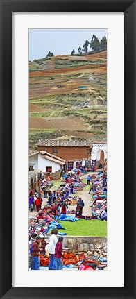 Framed Group of people in a market, Chinchero Market, Andes Mountains, Urubamba Valley, Cuzco, Peru Print