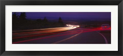 Framed Cars moving on the road, Mount Desert Island, Acadia National Park, Maine, USA Print