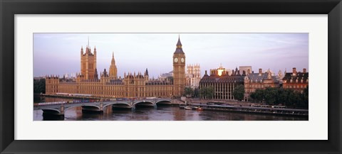 Framed Arch bridge across a river, Westminster Bridge, Big Ben, Houses Of Parliament, Westminster, London, England Print