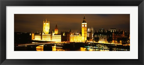 Framed Buildings lit up at night, Westminster Bridge, Big Ben, Houses Of Parliament, Westminster, London, England Print