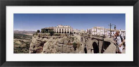 Framed Tourists standing on a bridge, Puente Nuevo, Ronda, Malaga Province, Andalusia, Spain Print