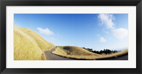 Framed Curved road on the mountain, Marin County, California, USA Print