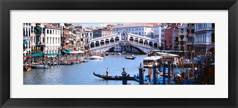 Framed Bridge across a river, Rialto Bridge, Grand Canal, Venice, Italy Print