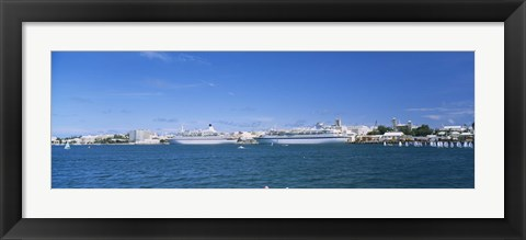 Framed Cruise ships docked at a harbor, Hamilton, Bermuda Print