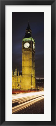 Framed Clock tower lit up at night, Big Ben, Houses of Parliament, Palace of Westminster, City Of Westminster, London, England Print