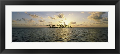 Framed Silhouette of palm trees on an island, Placencia, Laughing Bird Caye, Victoria Channel, Belize Print