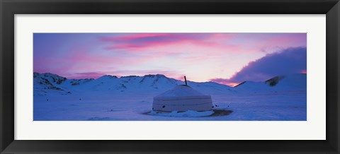 Framed Yurt the traditional Mongolian yurt on a frozen lake, Independent Mongolia Print
