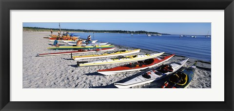 Framed Kayaks on the beach, Third Beach, Sakonnet River, Middletown, Newport County, Rhode Island (horizontal) Print