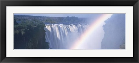 Framed Rainbow over a waterfall, Victoria Falls, Zambezi River, Zimbabwe Print