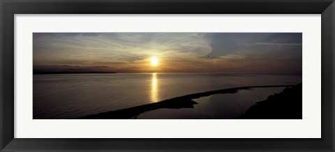 Framed Sunset over the sea, Ebey's Landing National Historical Reserve, Whidbey Island, Island County, Washington State, USA Print