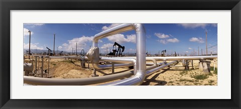 Framed Pipelines on a landscape, Taft, Kern County, California, USA Print