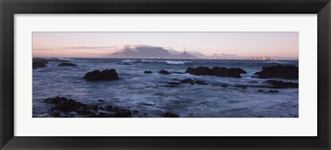 Framed Rocks in the sea with Table Mountain, Cape Town, South Africa Print
