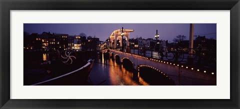 Framed Bridge lit up at night, Magere Brug, Amsterdam, Netherlands Print