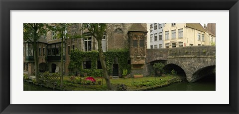 Framed Buildings along channel, Bruges, West Flanders, Belgium Print