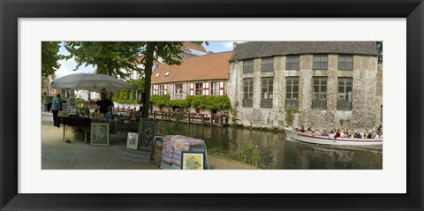 Framed Flea market at a canal, Dijver Canal, Bruges, West Flanders, Belgium Print