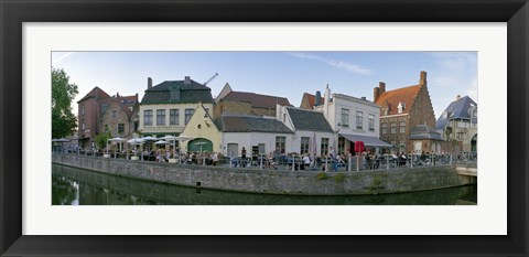 Framed Buildings at the waterfront, Bruges, West Flanders, Belgium Print