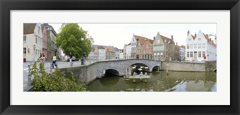 Framed Bridge across a channel, Bruges, West Flanders, Belgium Print