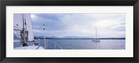 Framed Sailboats in a lake, Lake Starnberg, Munich, Bavaria, Germany Print