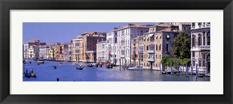 Framed Gondolas passing buildings along a canal, Grand Canal, Venice, Italy Print