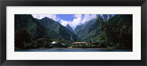 Framed Mountains and buildings on the coast, Tahiti, French Polynesia Print