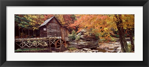Framed Glade Creek Grist Mill with Autumn Trees, Babcock State Park, West Virginia Print