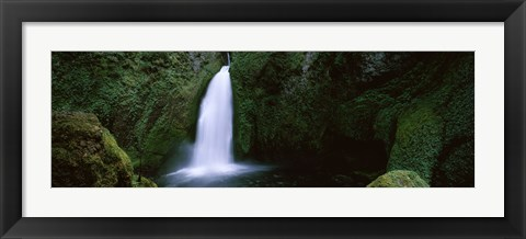 Framed Cascading waterfall in the Columbia River Gorge, Oregon, USA Print