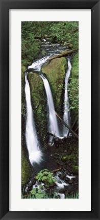 Framed High angle view of a waterfall in a forest, Triple Falls, Columbia River Gorge, Oregon (vertical) Print