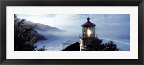 Framed Top of Heceta Head Lighthouse in the Mist, Oregon Print