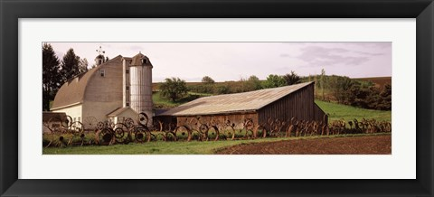 Framed Old barns, Palouse, Whitman County, Washington State Print