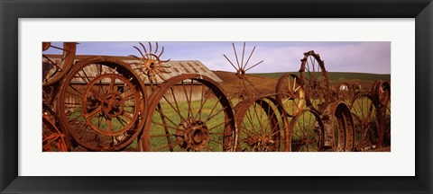 Framed Ffence made of wheels, Palouse, Whitman County, Washington State Print