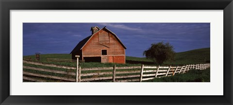 Framed Old barn with a fence in a field, Palouse, Whitman County, Washington State, USA Print