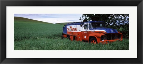 Framed Antique gas truck on a landscape, Palouse, Whitman County, Washington State, USA Print