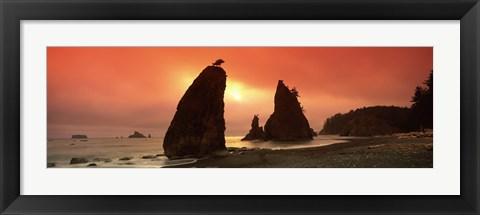 Framed Silhouette of seastacks at sunset, Olympic National Park, Washington State Print