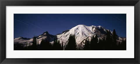 Framed Star trails over mountains, Mt Rainier, Washington State, USA Print